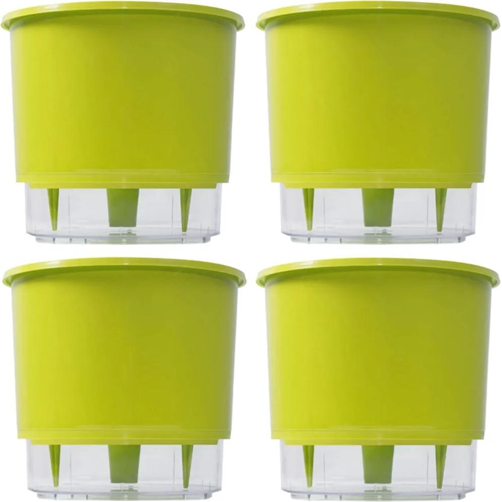 4 Vaso Raiz Auto Irrigável Verde Claro 16x14cm Autoirrigável