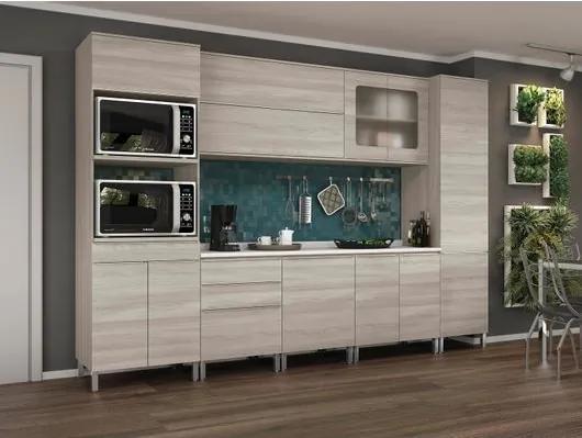 Conjunto Cozinha Completa, Paneleiro, Kit Fornos, Aéreo com Vidro e Basculante, Nacre, Impório