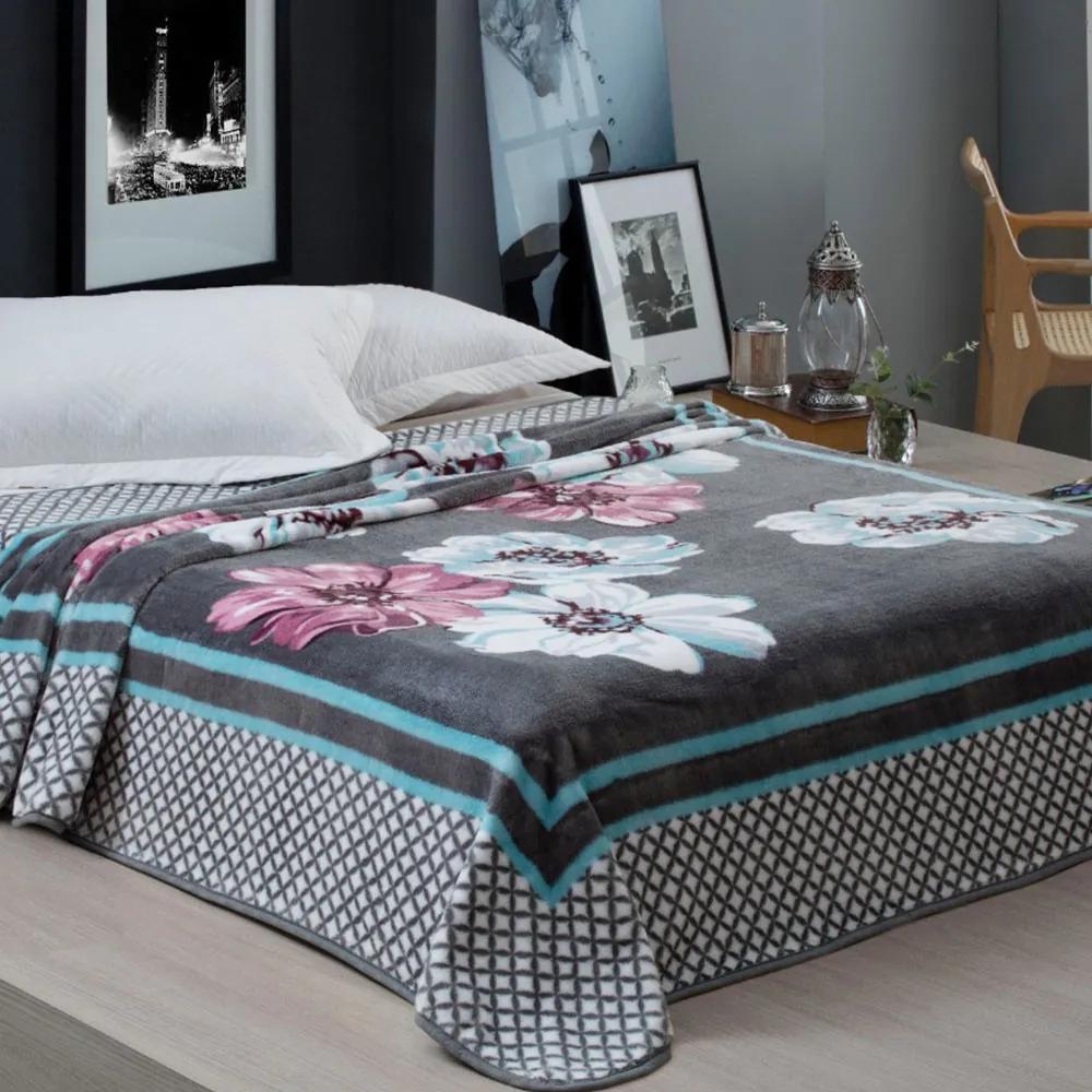 Cobertor Casal Home Design 2,20m x 1,80m 01 Peça - Cinza / Floral