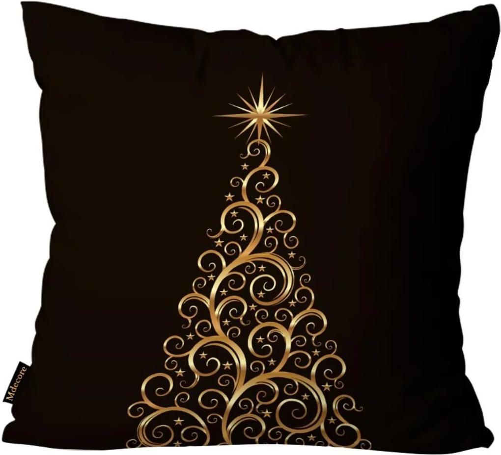 Capas para Almofada Premium Cetim Mdecore Natal Arvore de Natal Preta 45x45cm