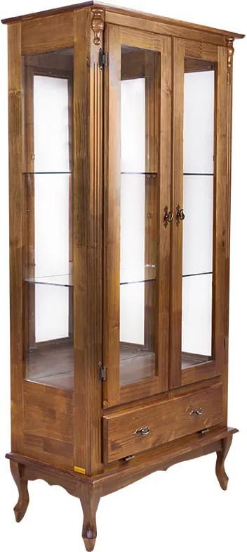 Vitrine 2 Portas com Espelho e Prateleiras de Vidro Imbuia - Wood Prime MY 38072