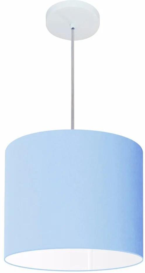 Lustre Pendente Cilíndrico Vivare Md-4113 Cúpula em Tecido 30x25cm - Bivolt - Azul Bebê - 110V/220V (Bivolt)