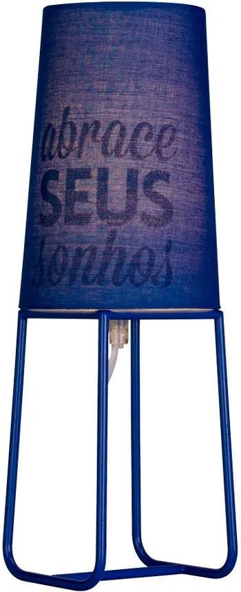 Abajur Mensagem Color - Azul Abrace Seus Sonhos