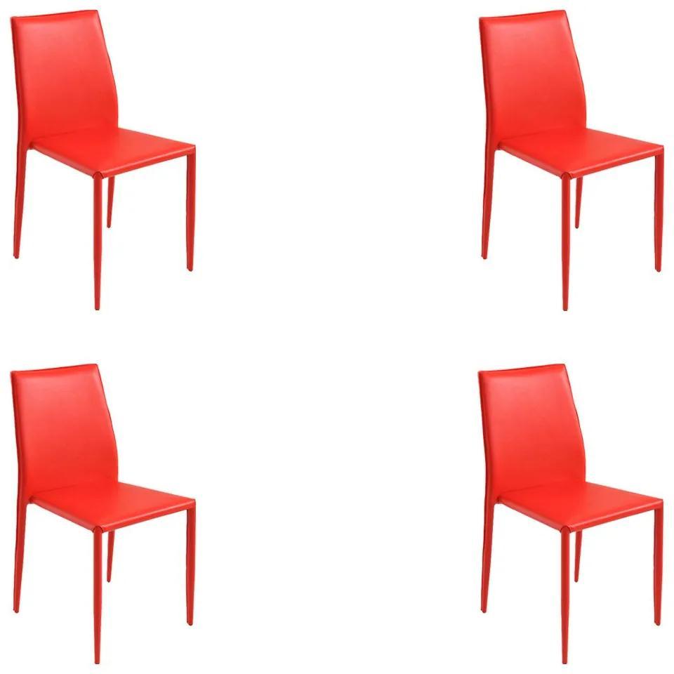 Kit 4 Cadeiras Decorativas Sala e Cozinha Karma PVC Vermelha - Gran Belo