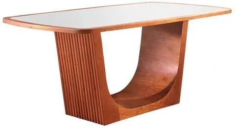 Mesa de Jantar 6 Lugares de Madeira Imbuia com Tampo de Vidro Branco 2,00m Kogan