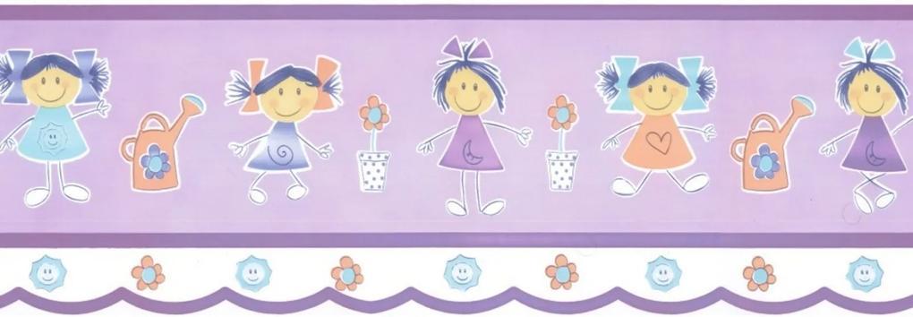 Papel de Parede Border Figuras Lilás Meninas 8525 Bobinex