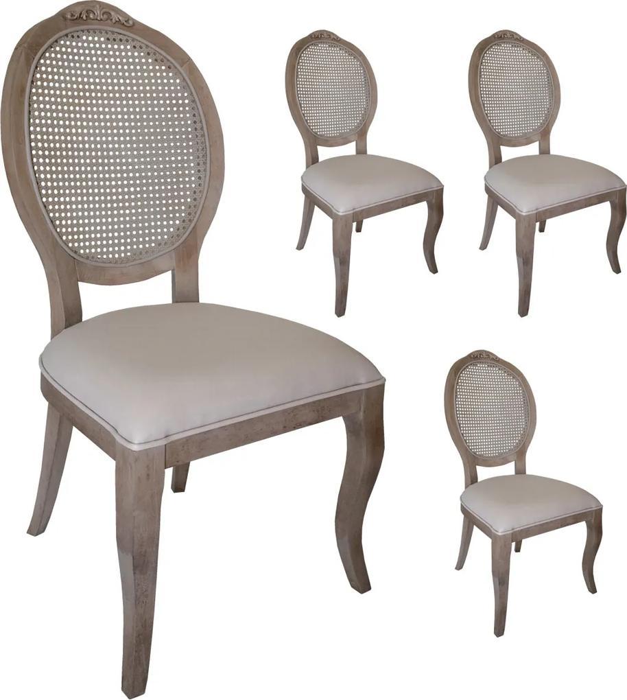 Jogo 4 Cadeiras Medalhão Lille - Avelã - Tecido Facto Fendi / Palha Clássico Kleiner Schein
