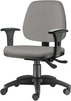 Cadeira Job com Bracos Semi Curvados Assento Crepe Cinza Claro Base Nylon Arcada - 54629 Sun House