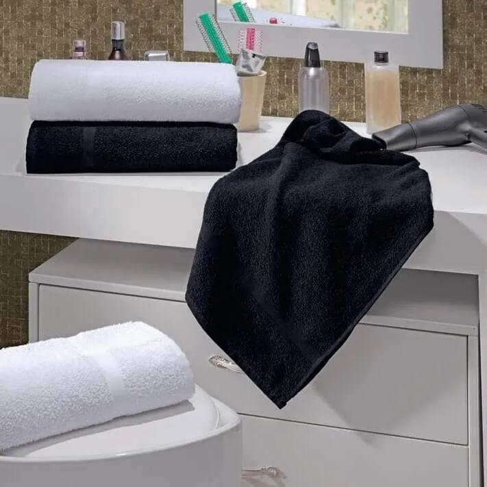 Toalha de Rosto para Salão de Beleza Beauty - 42x70cm - Lufamar-Preto