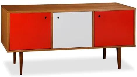 Buffet 3 Portas Vintage Laqueado Fosco Vermelho/Branco e Estrutura Madeira Maciça