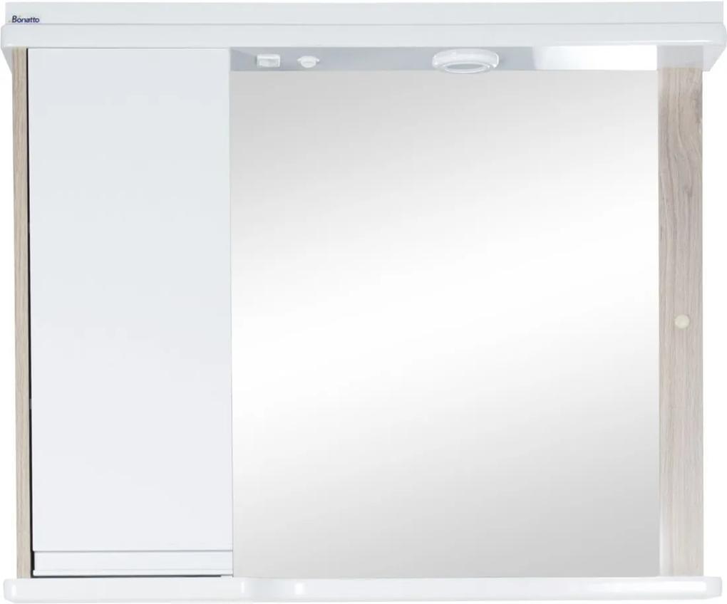 Espelheira 82Cm Santiago C/ Led Tomada E Interruptor Branco/Carvalho Bonatto