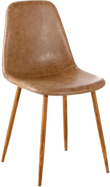 Cadeira Tânia PU Marrom Vintage Base Nogueira Rivatti