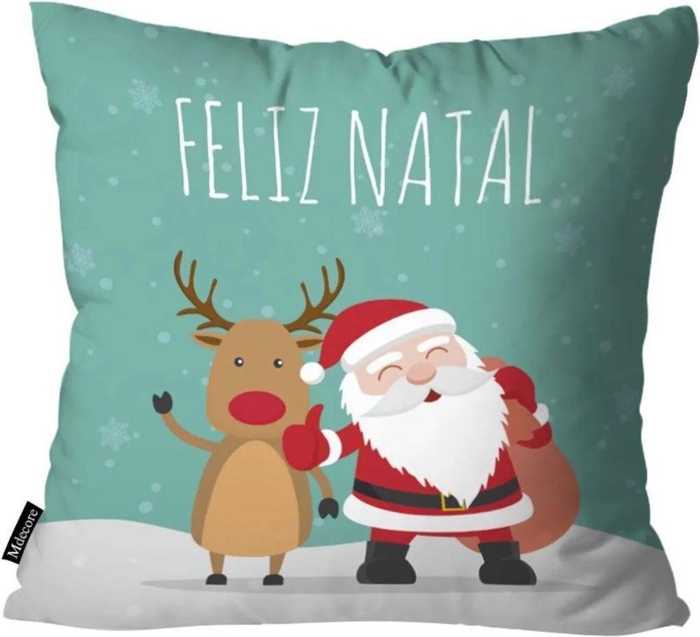 Capa para Almofada Mdecor De Natal Feliz Verde