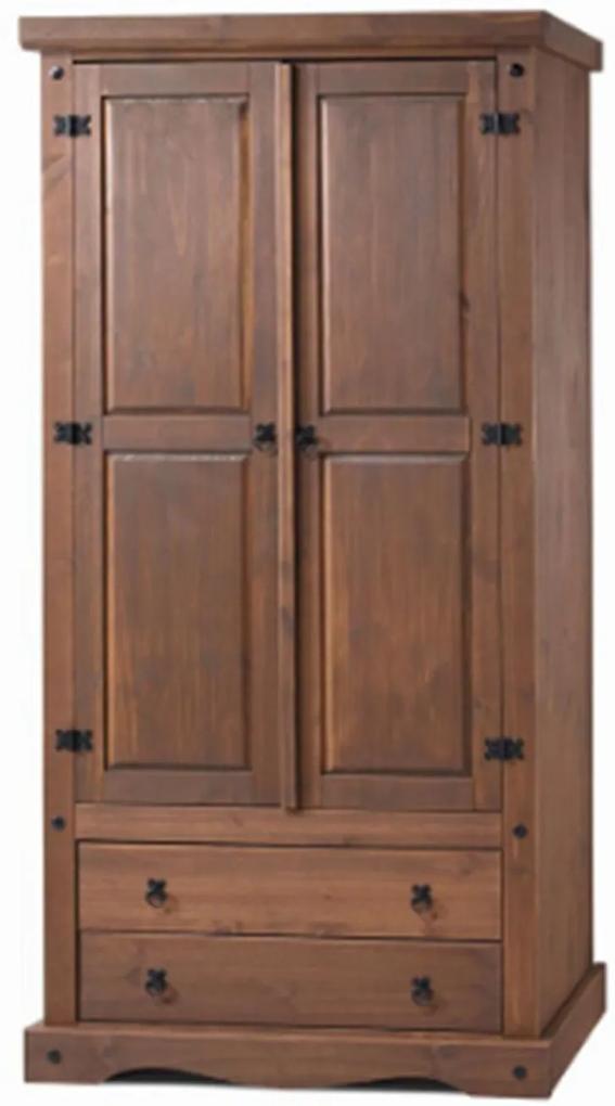 Guarda Roupa Rústico com 2 Portas - 2 Gavetas - Madeira Maciça - Cera Chocolate