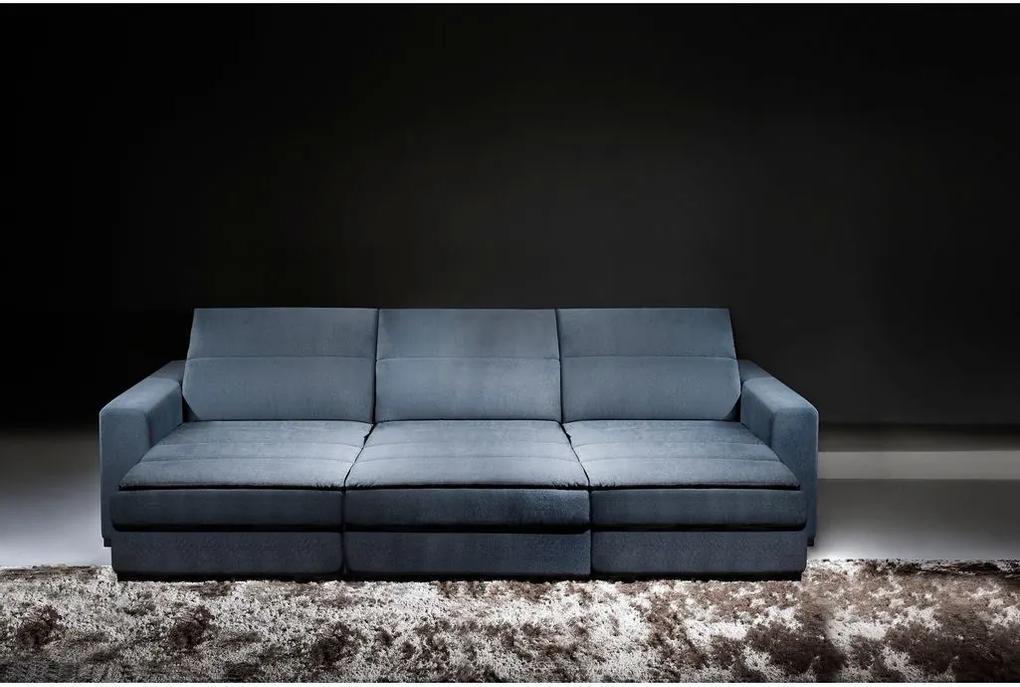 Sofá 8 Lugares Retrátil e Reclinável - Lagar Suede Azul
