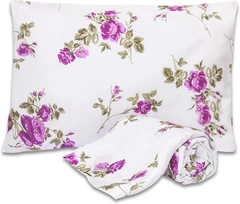 Jogo de Cama Standard Flores Pink Solteiro 160 Fios 02 Peças DOURADOS ENXOVAIS