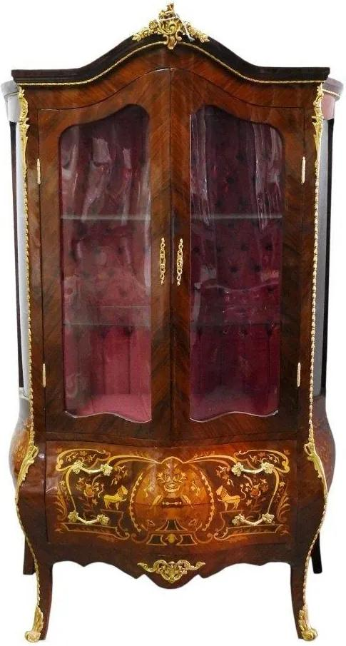 Cristaleira em Madeira Marchetada com Detalhes em Bronze - 120x196x57cm