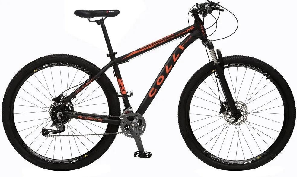 Bicicleta Esportiva Aro 29 Alívio Shimano Suspensão Freio a Disco 531-A Quadro 18 Alumínio Preto/Laranja - Colli Bike