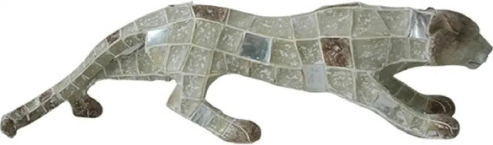 escultura pantera EGIPICIO resina bege 59cm Ilunato NA0555