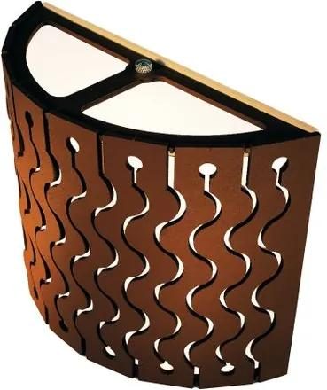 Arandela de Madeira Ipanema Marrom Café com LED 420 Lúmens / Tam: 20x15cm / Luz: 5.000K
