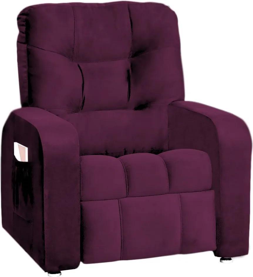 Poltrona do Papai Azera Mx7 Reclinável Suede Roxo - Matrix - Púrpura