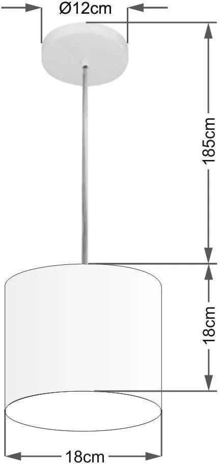 Lustre Pendente Cilíndrico Md-4046 Cúpula Tecido 18x18cm Bordo