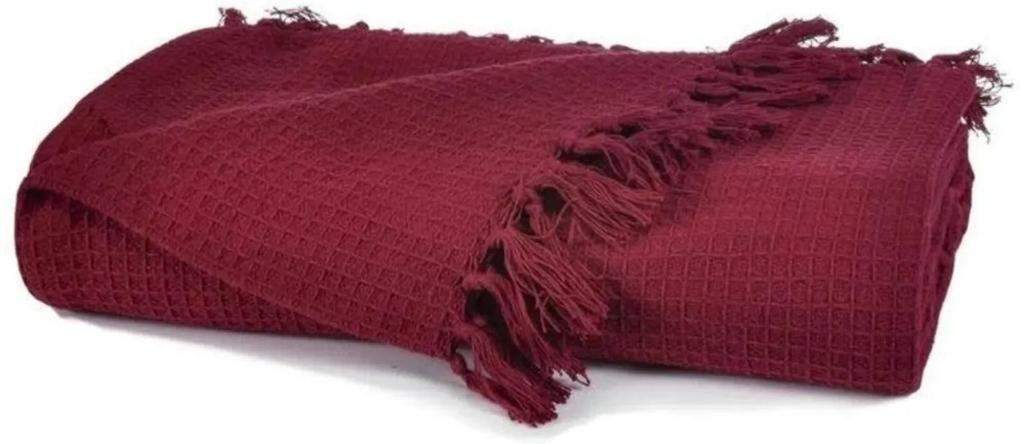 Manta Favo Tessi Bordô em 100% Algodão 1,20x1,50m Vermelho