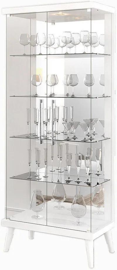 Cristaleira 02 Portas de Vidro Tifanny Branco Brilho - Imcal