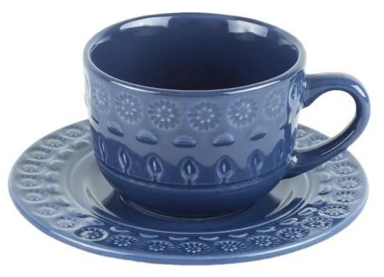 Jogo Xícaras Café Com Pires Porcelana 4 Peças Grace Azul 80ml 17564 Wolff