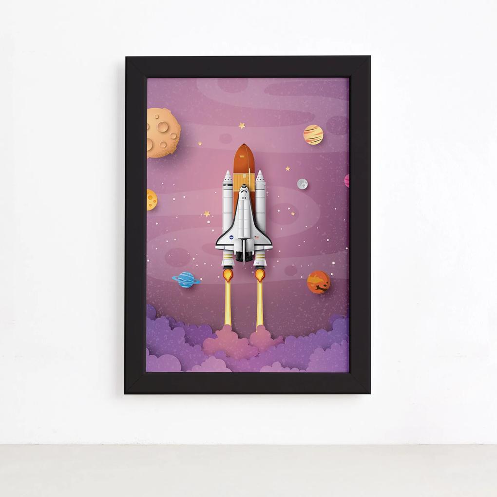 Quadro Astronauta Foguete na Galáxia Moldura Preta 33x43cm