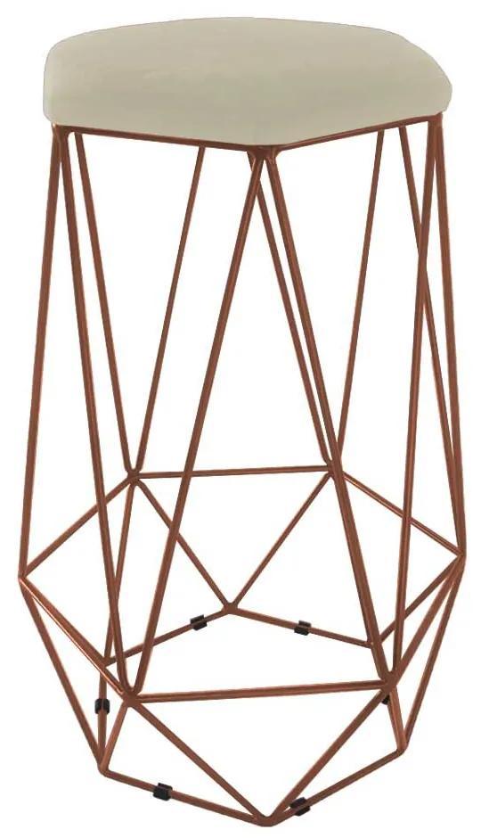 Puff Banqueta Aramado Eiffel Hexágono bronze Assento Bege