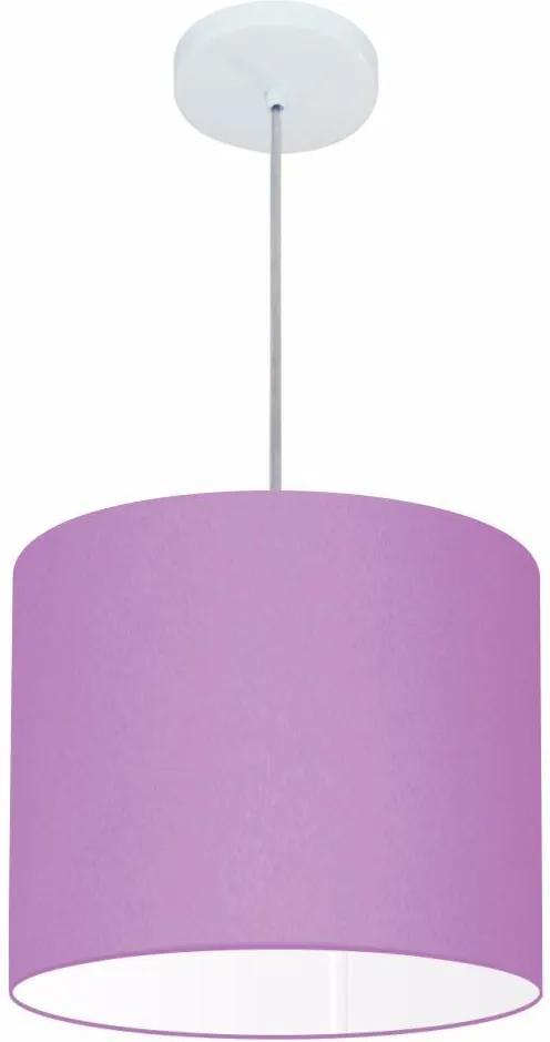 Lustre Pendente Cilíndrico Md-4113 Cúpula em Tecido 30x25cm Lilás - Bivolt