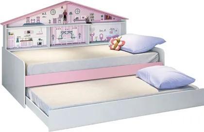 Cama Infantil com Cama Auxiliar Casa de Boneca Branco/Rosa - Pura Magia