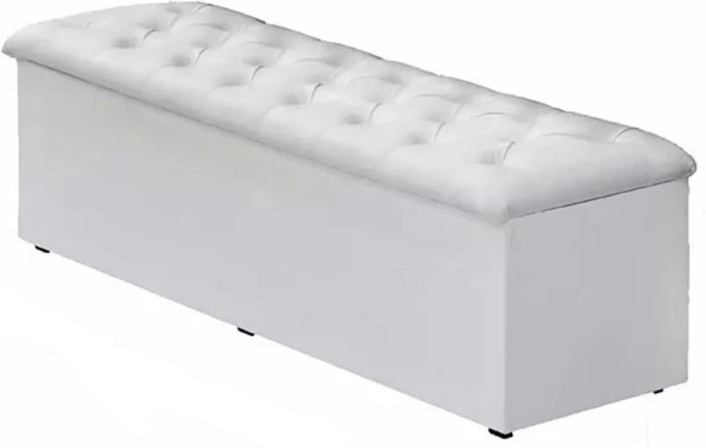 Calçadeira Recamier Baú Casal Queen 160cm Sofia Corino Branco - DS Móveis
