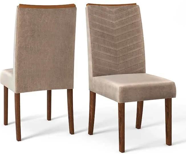 Conjunto 2 Cadeiras Lucila Rústico Malbec Tecido Veludo Kraft