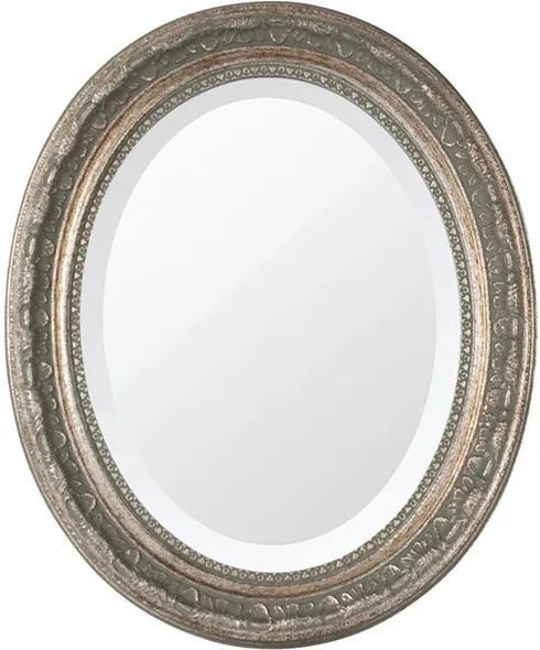 Espelho Oval Bisotê Prata Envelhecido Médio