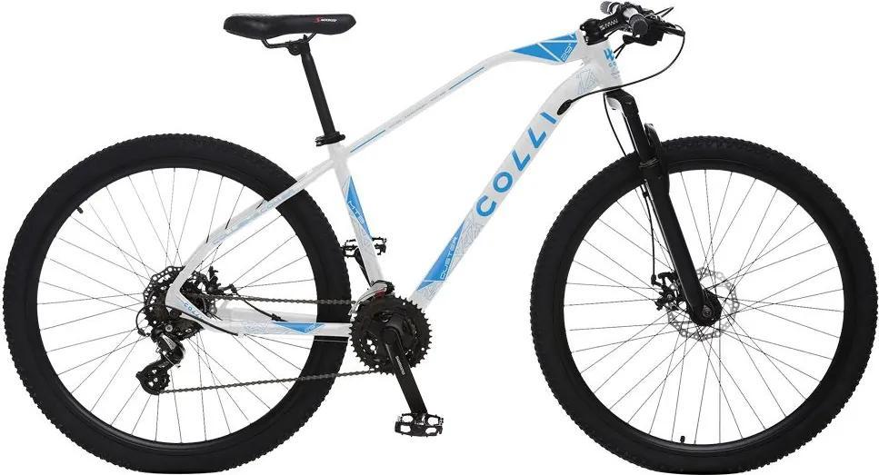 Bicicleta Esportiva Aro 29 Altus Shimano 24v Suspensão Freio a Disco Duster Quadro 17 Alumínio Branco/Azul - Colli Bike