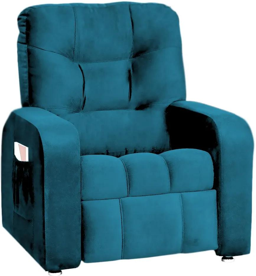 Poltrona do Papai Azera Mx7 Reclinável Suede Azul - Matrix - Azul