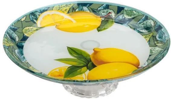 Centro De Mesa De Vidro Com Pé Lemon Amarelo 20cm 35431 Bon Gourmet