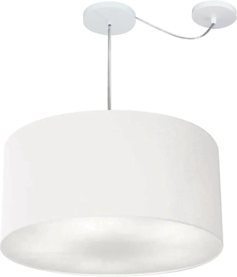 Lustre Pendente Cilíndrico Com Desvio Md-4253 Cúpula em Tecido 55x30cm Branco - Bivolt