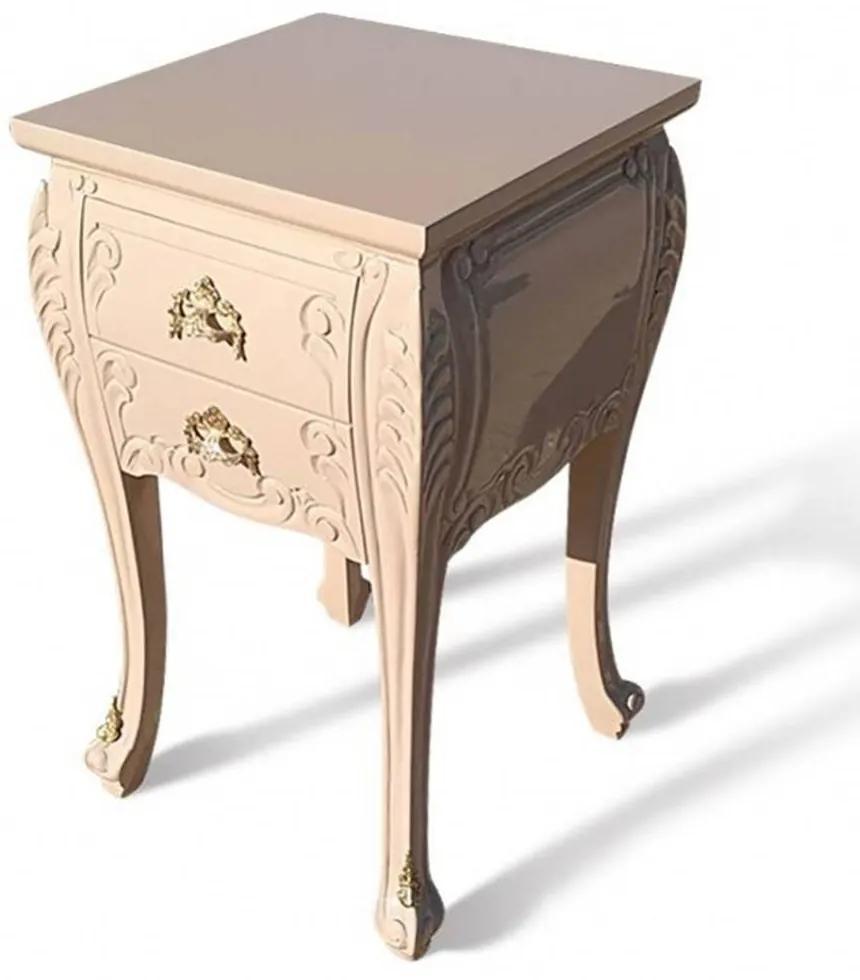 Criado Mudo Luís XV Madeira Maciça Design de Luxo Peça Artesanal