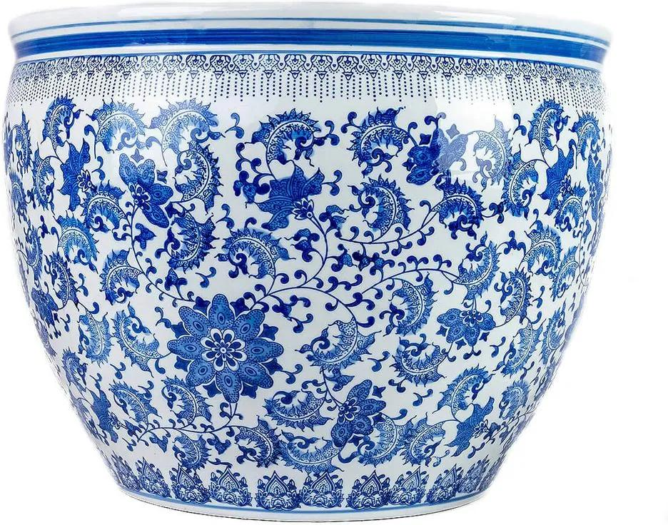 Cachepot Gigante em Porcelana Floral Azul e Branco D56cm x A43cm