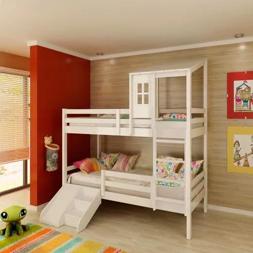 Beliche infantil Teen Play c/ Grades de Proteção, Telhadinho II, Mini Escada/escorregador - Casatema