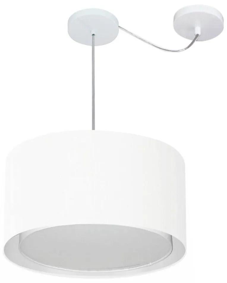 Lustre Pendente Cilíndrico Com Desvio Md-4310 Cúpula em Tecido 40x25cm Branco - Bivolt