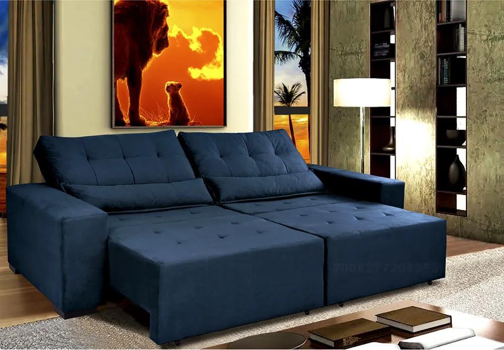 Sofá Retrátil E Cama Com Molas Confort Max 2,32 Tecido Suede Velusoft Azul - Cama Inbox