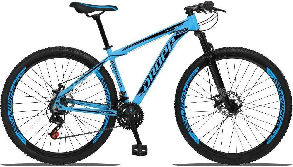 Bicicleta Aluminum Aro 29 Quadro Alumínio 21 Marchas Freio a Disco Mecânico - Dropp - Azul/Preto - 15