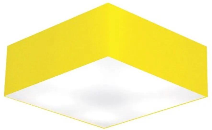 Kit/2 Plafon Quadrado Md-3002 Cúpula em Tecido 15/50x50cm Amarelo - Bivolt