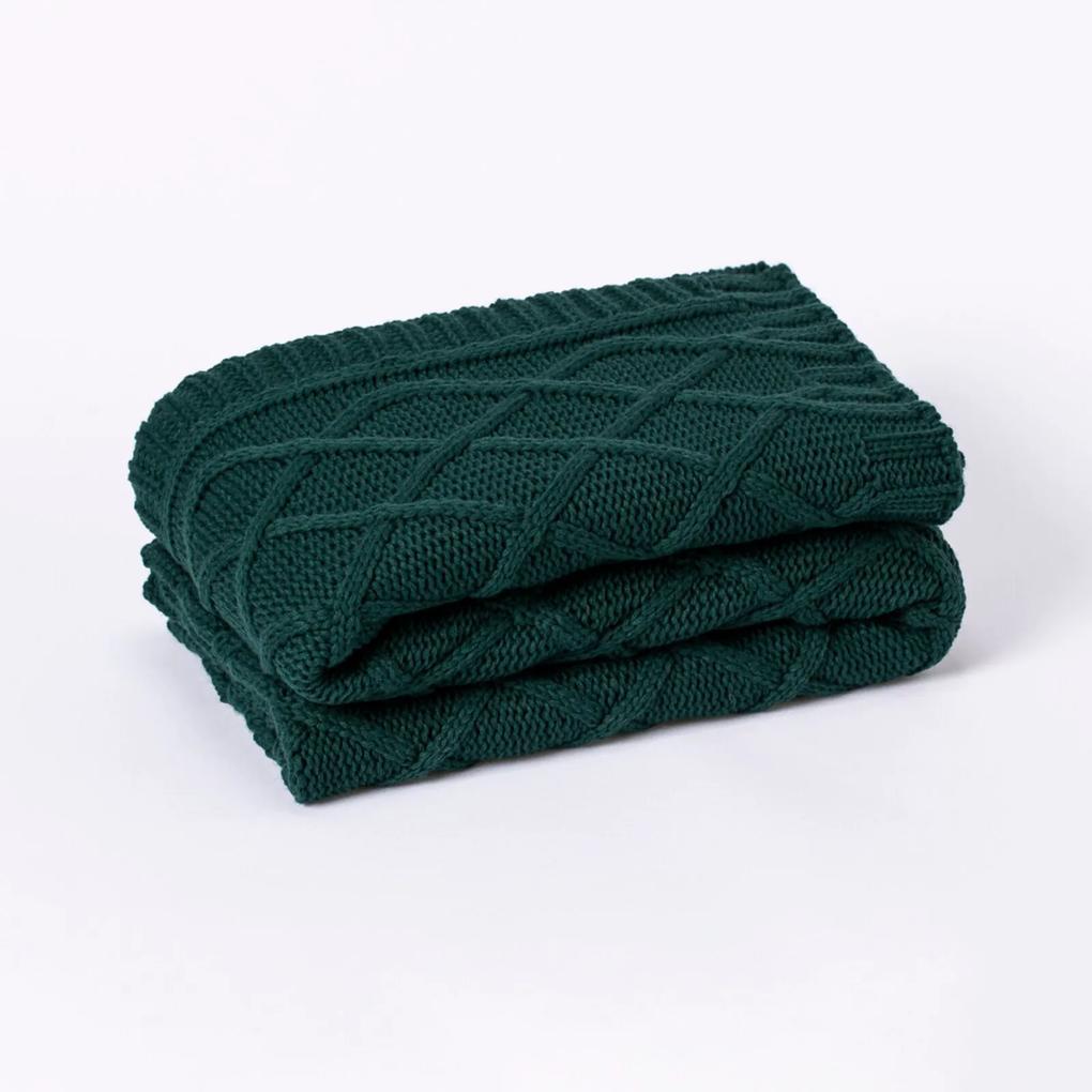 Peseira Cama Solteiro Trico Manta Sofá 150cmx60cm Cod 1064S1 Verde Musgo
