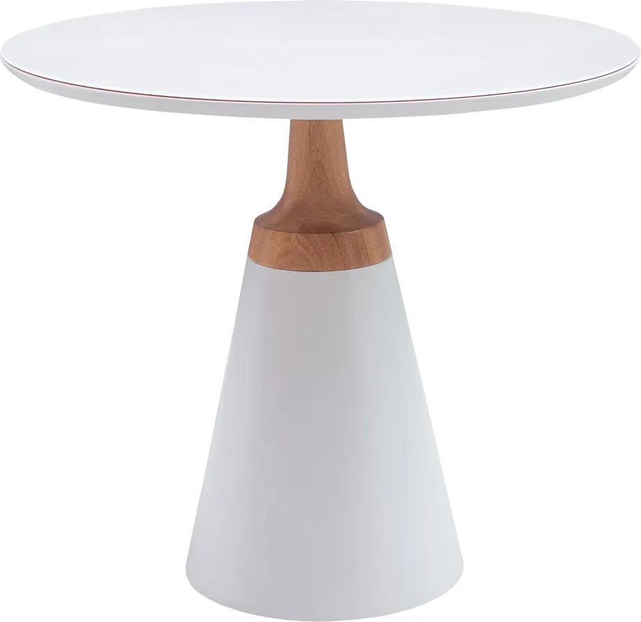 Mesa Lateral Decorativa Para Sala de Estar Mandrágora 50x50 Redonda Off White - Gran Belo