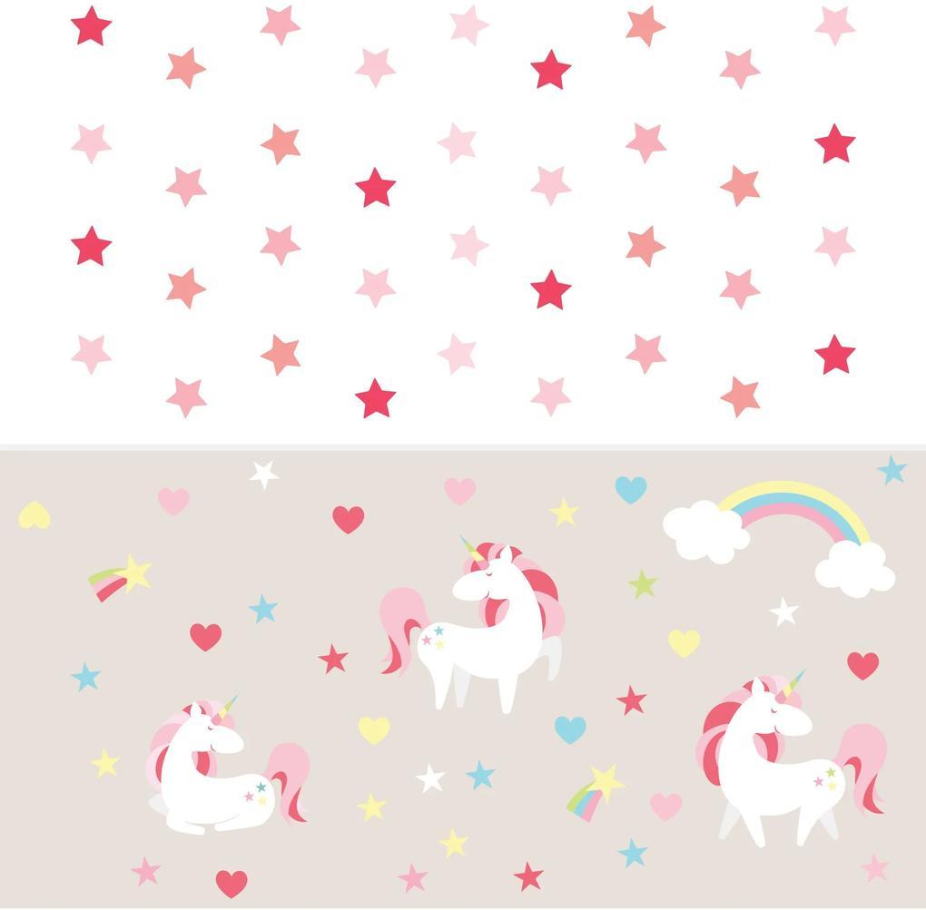 Adesivo Infantil Unicornio Magico e Estrelas Kit Decoração